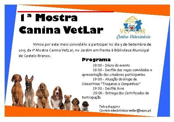 Programma di attività 1 ° settembre spettacoli canino Vet Home a Castelo Branco